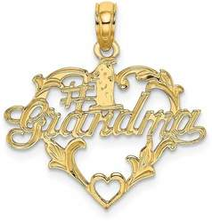 14K Yellow Gold #1 Script Grandma In Heart Pendant