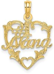 14K Yellow Gold #1 Nana In Heart Pendant