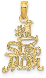 14K Yellow Gold Polished & Engraved #1 Step Mom Pendant