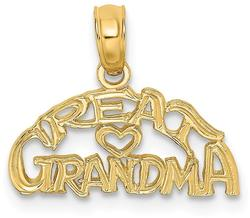 14K Yellow Gold Block & Engraved Great Grandma Pendant