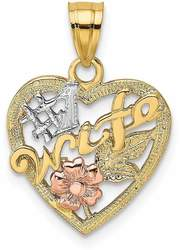 14k Two-tone Gold w/ Rhodium #1 Wife In Heart w/ Flower Pendant