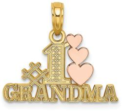 14k Yellow & Rose Gold #1 Grandma w/ Three Hearts Pendant