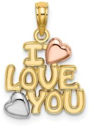 14k Yellow & Rose Gold w/ Rhodium I Love You w/ Hearts Pendant