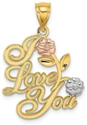 14k Yellow & Rose Gold with Rhodium I Love You Script w/ Two Flowers Pendant