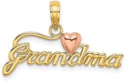 14k Two-tone Gold Grandma w/ Heart Pendant