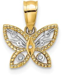 14K Yellow Gold & Rhodium-Plated Mini Shiny-Cut Butterfly Pendant