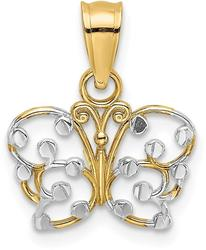 14K Yellow Gold & Rhodium-Plated Shiny-Cut Butterfly Pendant K9500
