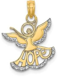 14K Yellow Gold & Rhodium Polished & Textured Cut-Out Angel w/ Hope Pendant