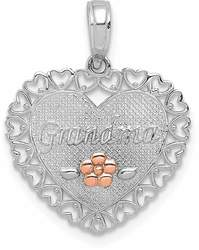 14k Two-tone Gold Polished Grandma & Flower in Heart Border Heart Pendant