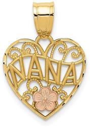 10k Yellow & Rose Gold Nana Heart Pendant