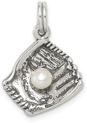 Sterling Silver Baseball Glove w/ Simulated Pearl Charm