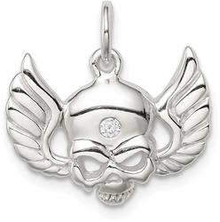 Sterling Silver CZ Skull with Wings Charm