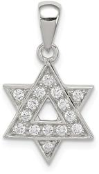 Sterling Silver CZ Star Of David Pendant QC5944