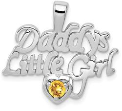 Sterling Silver Rhodium-Plated Citrine Daddys Little Girl Pendant