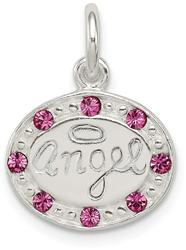 Sterling Silver w/ Stellux Synthetic Crystal Angel Charm