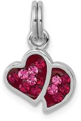 Sterling Silver Rhodium-Plated Pink & Red CZ Hearts Charm