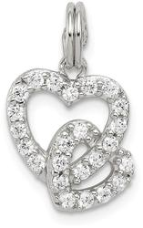 Sterling Silver CZ Heart Charm QC6191