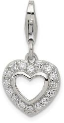 Sterling Silver CZ Heart Charm QC6193