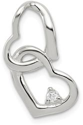 Sterling Silver CZ Hearts Pendant