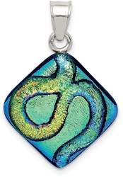 Sterling Silver Multicolor Dichroic Glass Kite-Shaped Pendant