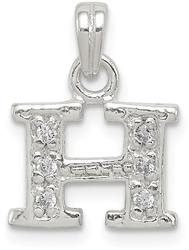 Sterling Silver CZ Initial H Pendant QC6717H