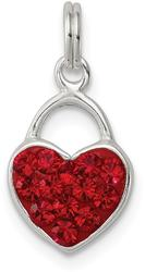 Sterling Silver Stellux Synthetic Crystal Polished Heart Charm