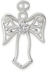 Sterling Silver CZ Angel Pendant QC7386