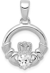Sterling Silver Rhodium Plated CZ Claddagh Pendant QC7624