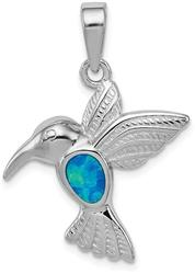 Sterling Silver Rhodium Plated Lab-Created Opal Inlay Hummingbird Pendant