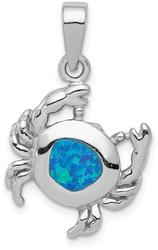 Sterling Silver Blue Inlay Lab-Created Opal Crab Pendant