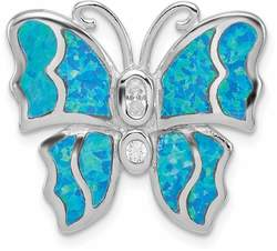 Sterling Silver Rhodium Plated Blue Inlay Created Opal Butterfly Pendant