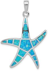 Sterling Silver Blue Inlay Lab-Created Opal Starfish Pendant