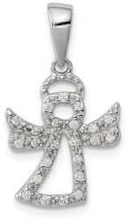 Sterling Silver CZ Angel Pendant QC7898