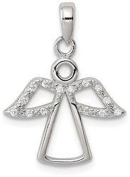 Sterling Silver Angel w/ CZ Wings Pendant