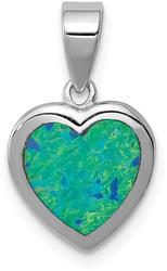 Sterling Silver Rhodium-Plated Lab-Created Opal Polished Heart Pendant QC8490