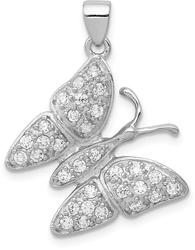 Sterling Silver Rhodium-Plated CZ Butterfly Pendant QC8586