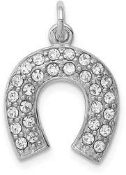Sterling Silver Rhodium-Plated Horseshoe w/ Synthetic Crystal Charm