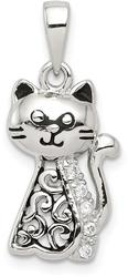 Sterling Silver Antiqued CZ Cat Pendant