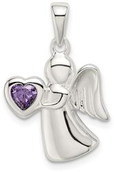 Sterling Silver Angel w/ Purple CZ Heart Pendant