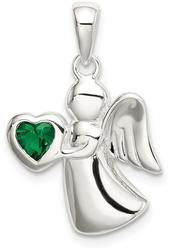 Sterling Silver Angel w/ Dark Green CZ Heart Pendant