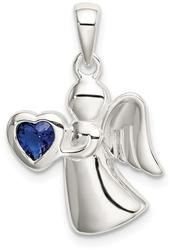 Sterling Silver Angel w/ Dark Blue CZ Heart Pendant