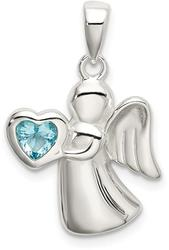 Sterling Silver Angel w/ Light Blue CZ Heart Pendant