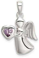 Sterling Silver Angel w/ Light Purple CZ Heart Pendant