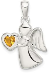Sterling Silver Angel w/ Yellow CZ Heart Pendant