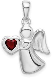 Sterling Silver Angel w/ Red CZ Heart Pendant
