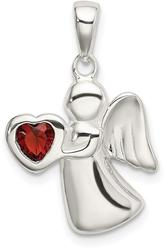 Sterling Silver Angel w/ Dark Red CZ Heart Pendant