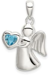 Sterling Silver Angel w/ Blue CZ Heart Pendant
