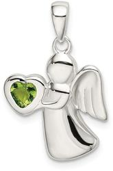 Sterling Silver Angel w/ Light Green CZ Heart Pendant