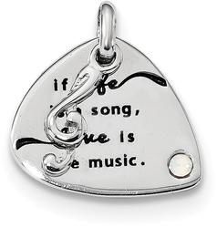 Sterling Silver Swarovski Crystal Elements Antiqued Guitar Charm