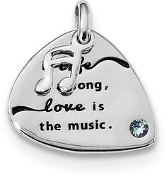 Sterling Silver Swarovski Crystal Elements Antiqued Guitar Pick Charm
